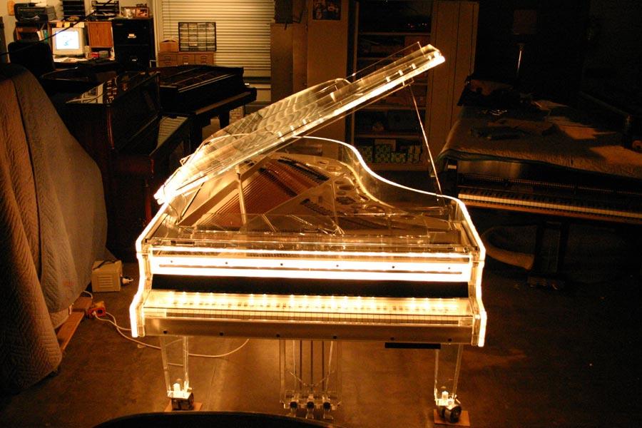 Lights Close Up Schimmel Model 213 In Custom Plexiglas Lighted